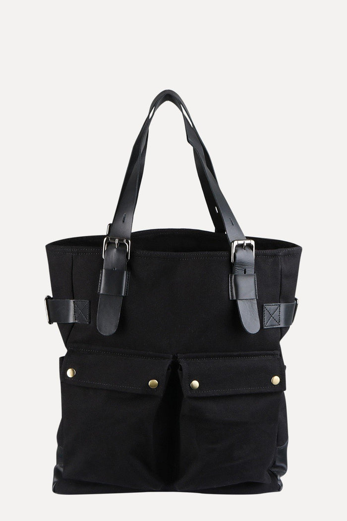 Black Twill Canvas Tote Bag