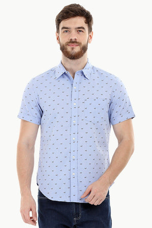 Blue Printed Oxford Summer Shirt