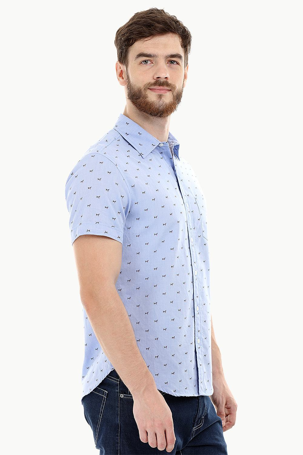 0b405be3aeb Blue Printed Oxford Summer Shirt – Zobello