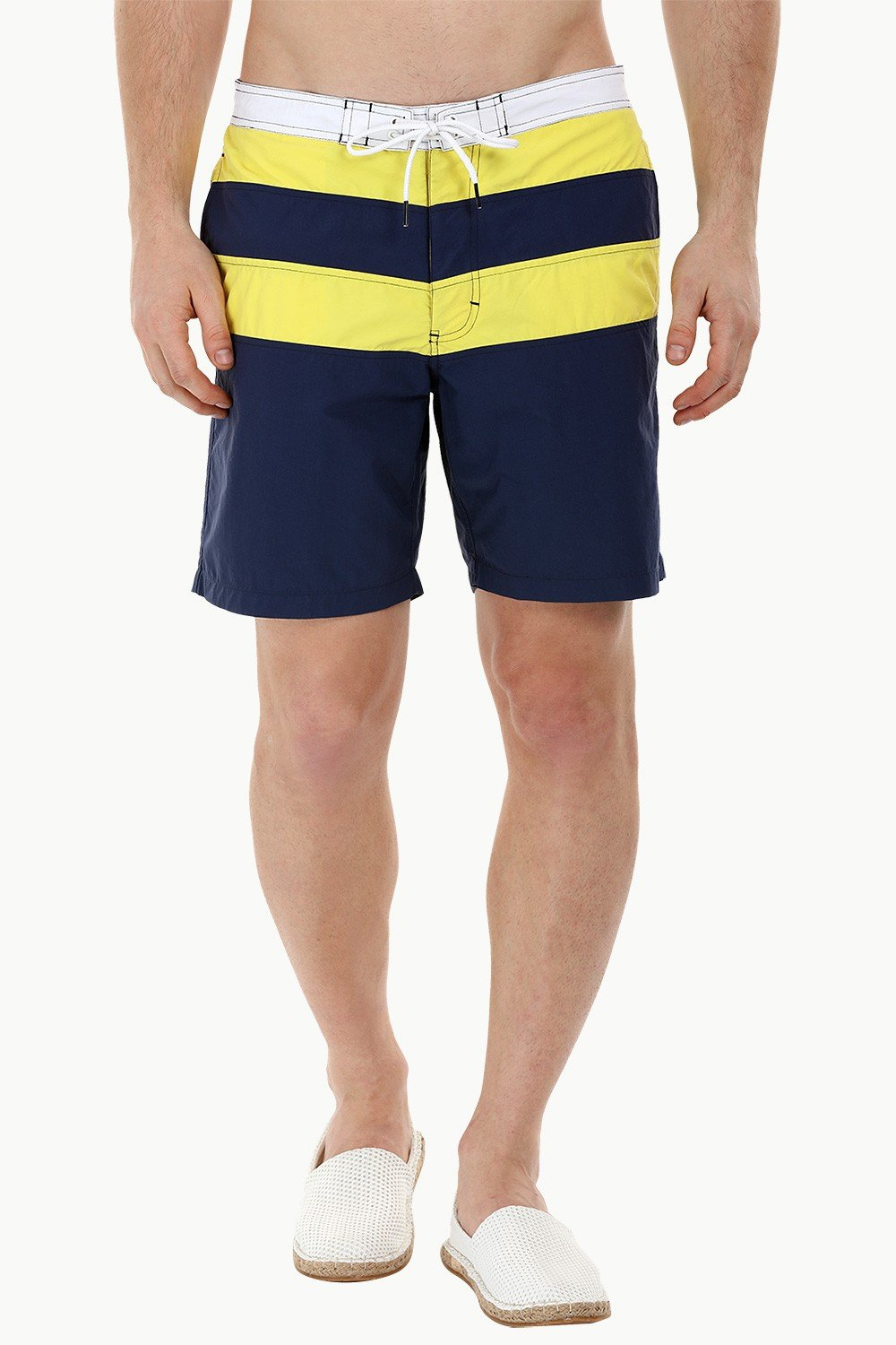 72b070fb65 Buy Online Board Striped Swim Shorts in White, Yellow and Navy ...