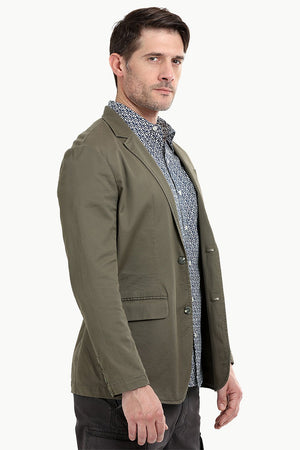 Brown Solid Casual Blazer
