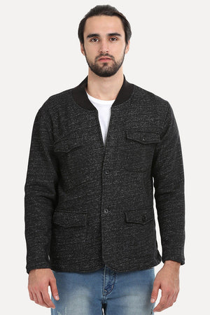 Buttoned Fleece Heather Black Jacket