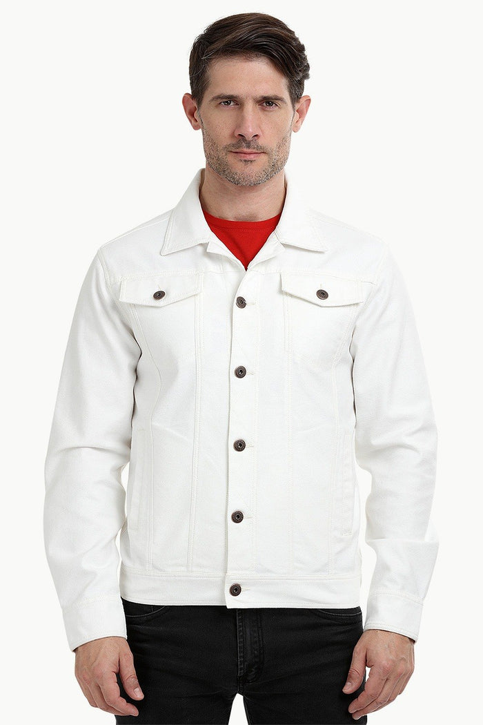 Buttoned White Denim Jacket