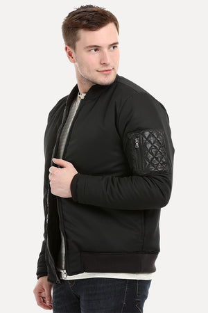 Mens Black Padded Winter Bomber Jacket