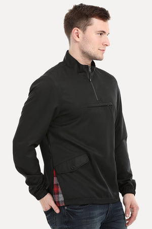 Men's Black Popover Sports Sweatshirt