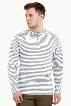 Men's Knit White/Grey Stripe Henley Sweatshirt