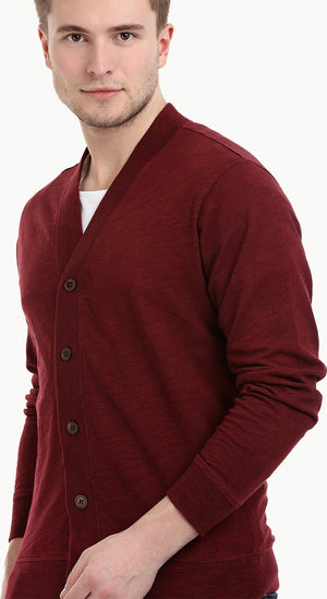 Men's Buttoned Maroon English Cardigan