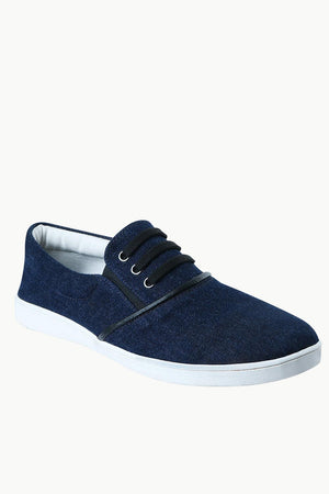 Men's Denim Mock Lace Slip-On Loafers