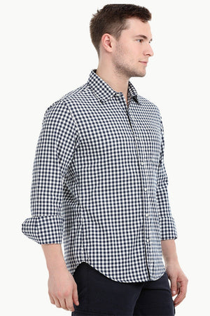 Mens Long Sleeve Navy Gingham Check Shirt