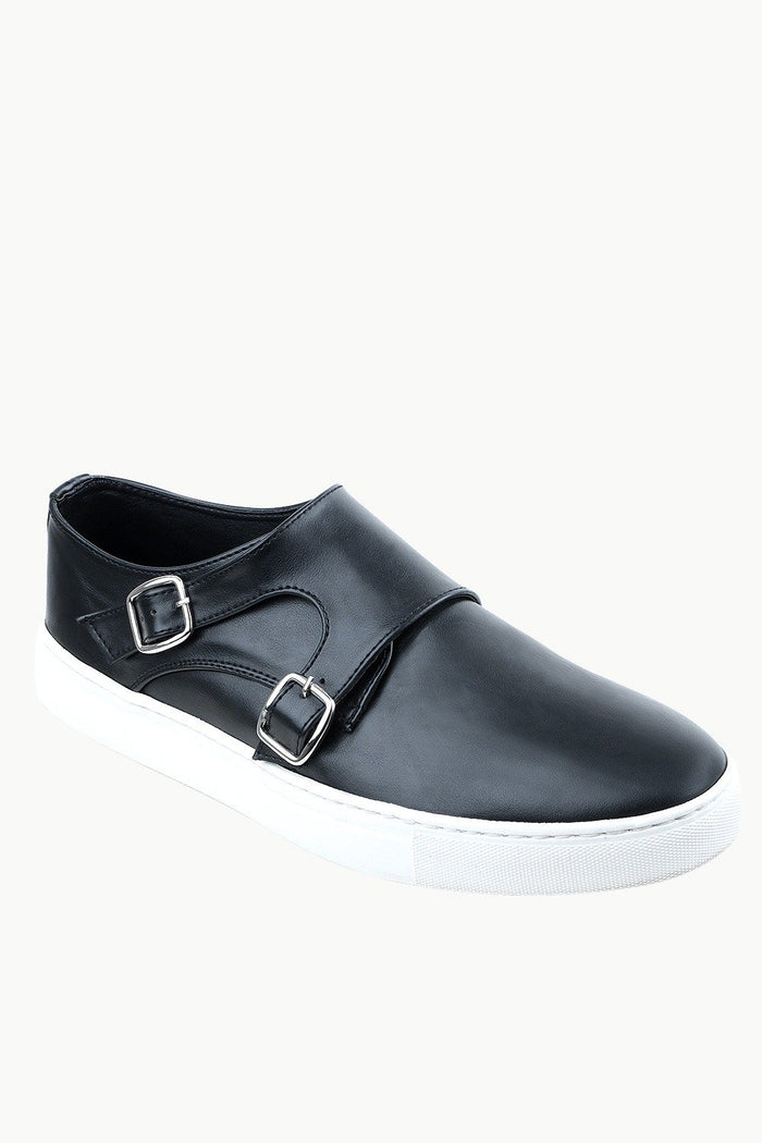 Men's Monk Strap Black Leather Plimsolls