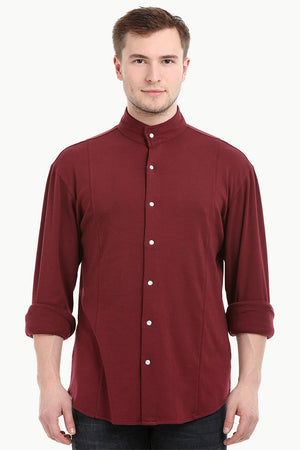 Mens Snap Button Knit Maroon Shirt