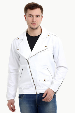 Mens White Biker Zipper Twill Denim Jacket