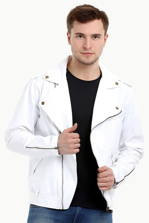 Men's White Biker Zipper Twill Denim Jacket