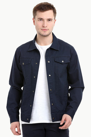 Men's Navy Snap Button Closure Twill Jacket