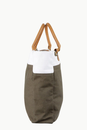 Canvas Brown Colorblock Tote Bag
