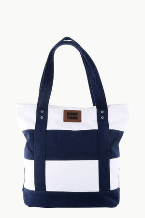Canvas Colorblock Beach Tote Bag