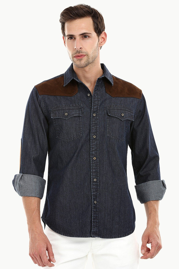 Casual Suede Patch Denim Shirt