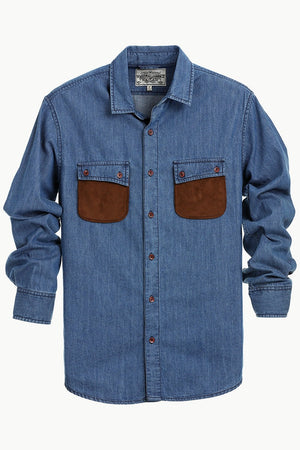 Casual Suede Patch Pocket Denim Shirt