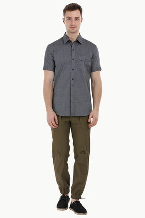Charcoal Shirt with Semi Concealed Placket