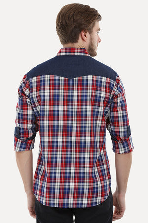 Check Shirt with Denim Yoke