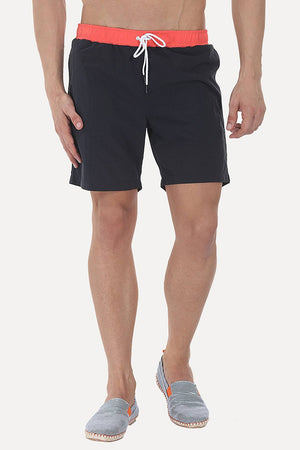 Solid Nylon Swim Shorts With Contrast Elastic Waistband
