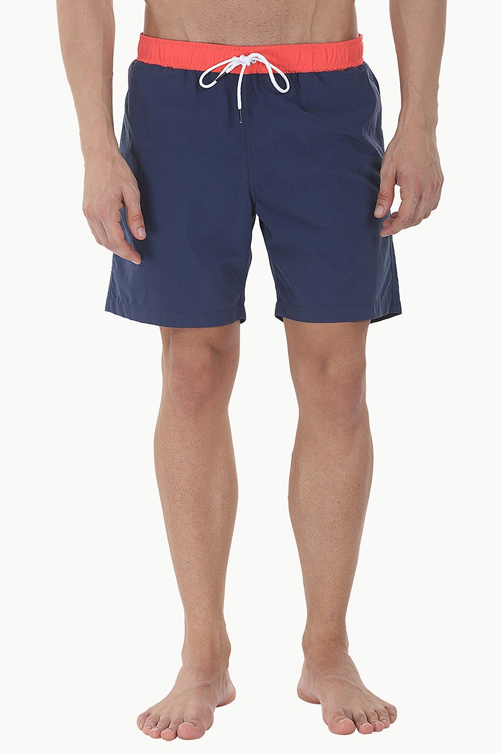 a74bbbe6af Buy Online Best Classic Solid Nylon Men's Swim ShortsNavy and Orange ...