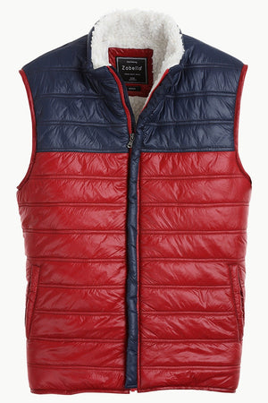 Color-Block Quilted Jacket with Sherpa Lining