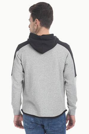 Color Block Fleece Hoodie With Zipper