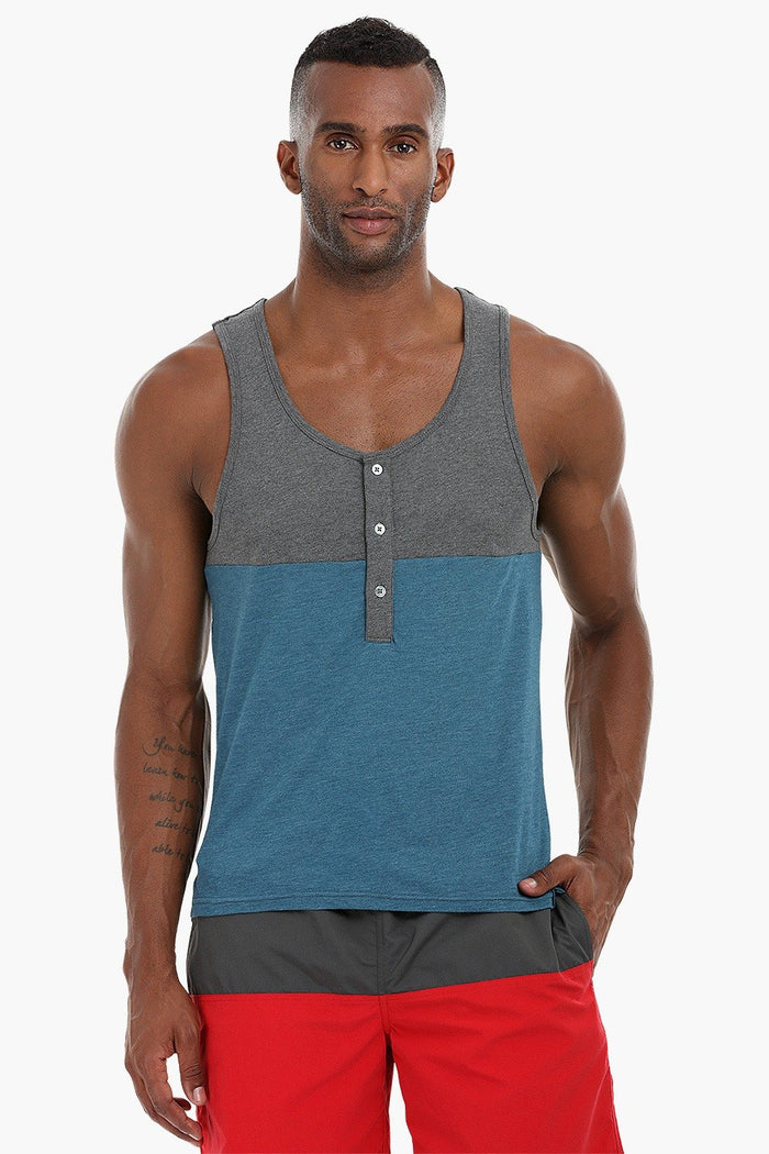 Colorblock Henley Cotton Tank
