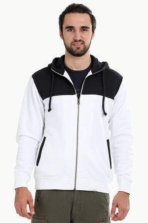 Colourblock Zipper White Hoodie