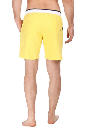Solid Swim Shorts With Contrast Elastic Waistband