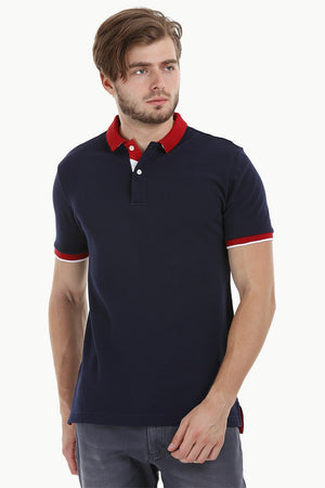 Contrast Placket Navy Polo T-Shirt