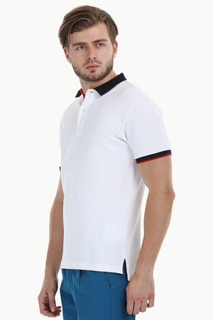 Contrast Placket White Polo T-Shirt