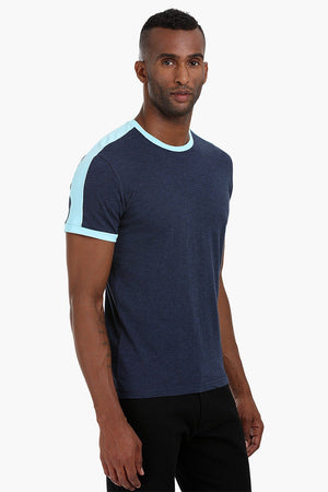 Contrast Shoulder Patch Cotton T-Shirt