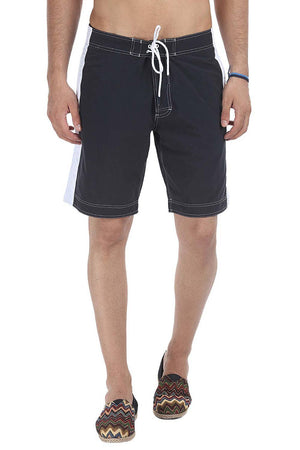 White Side Panel Solid Swim Shorts
