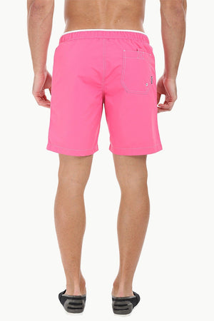 Oxford Look Solid Swim Shorts With Waistband
