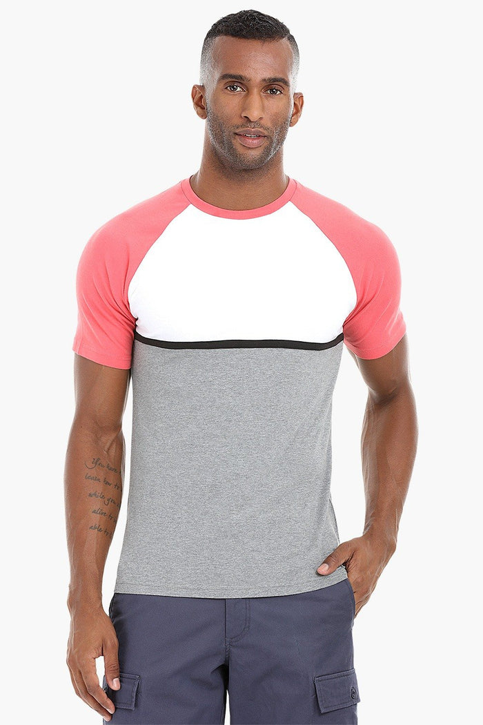 Cut and Sew Colorblock Cotton T-Shirt