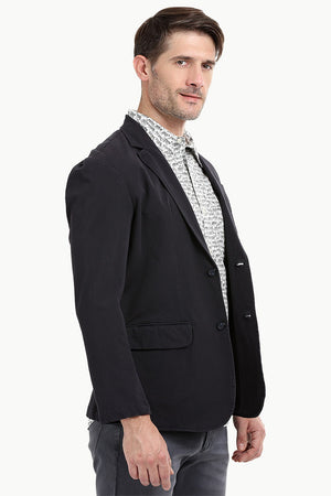 Dark Grey Solid Casual Blazer
