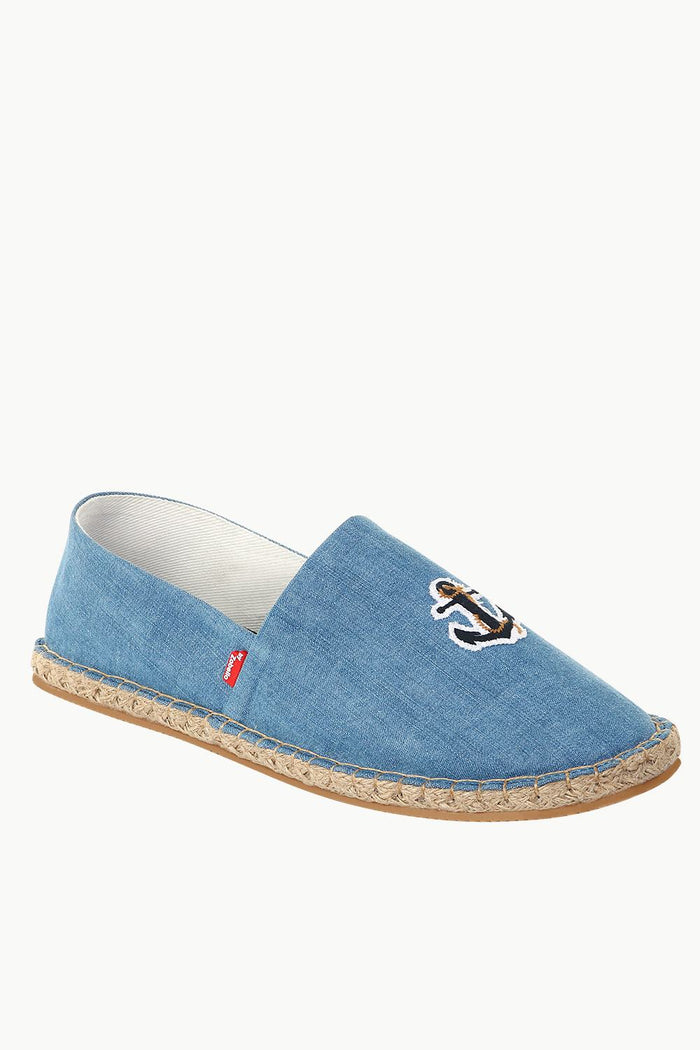 Indigo Denim Anchor Embroidered Espadrilles