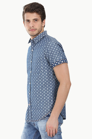 Indigo Denim Ikat Short Sleeve Shirt