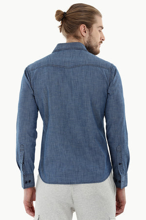 Indigo Denim Shirt with Bold Stitch