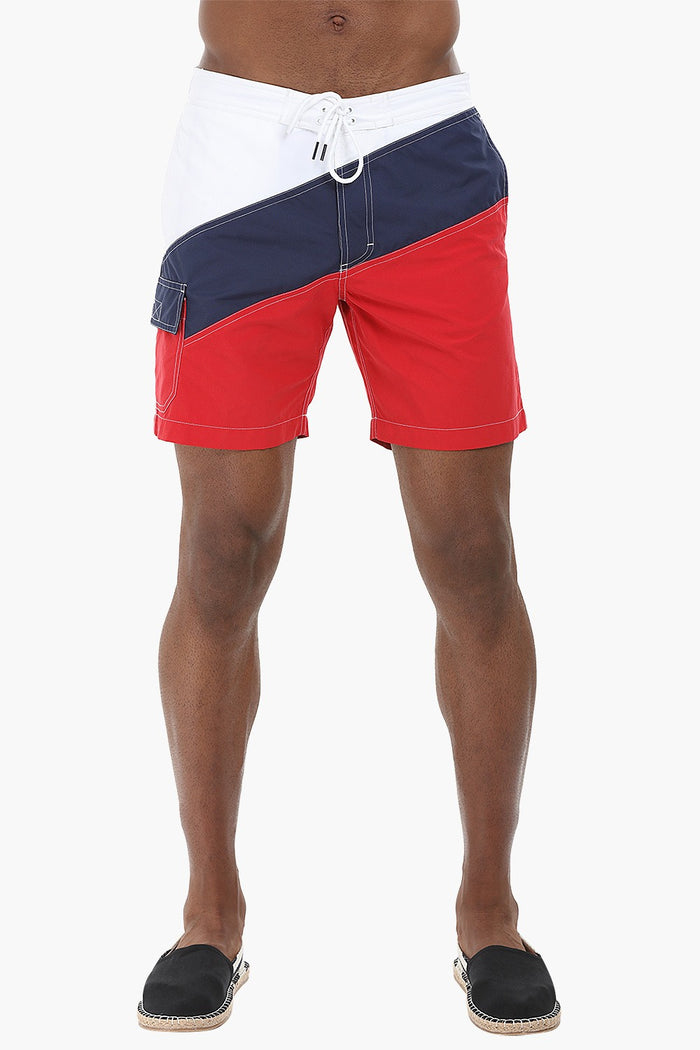 Diagonal Colorblock Swimshorts