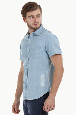Distressed Indigo Denim Shirt