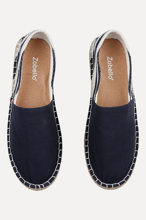 Blue Espadrilles with Nautical Striped Heel