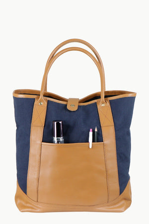 Faux Leather Detail Canvas Tote Bag