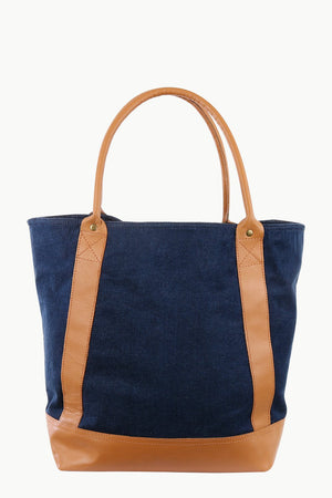 Faux Leather Detail Denim Tote Bag