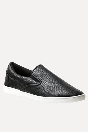 Faux Leather Loafer Plimsolls
