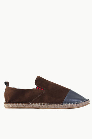 Faux Leather Top Suede Espadrilles