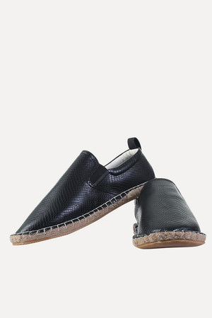 Textured Faux Leather Espadrilles