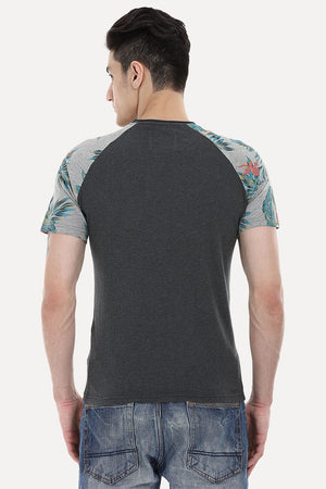 Raglan Tee With Floral Printed Block